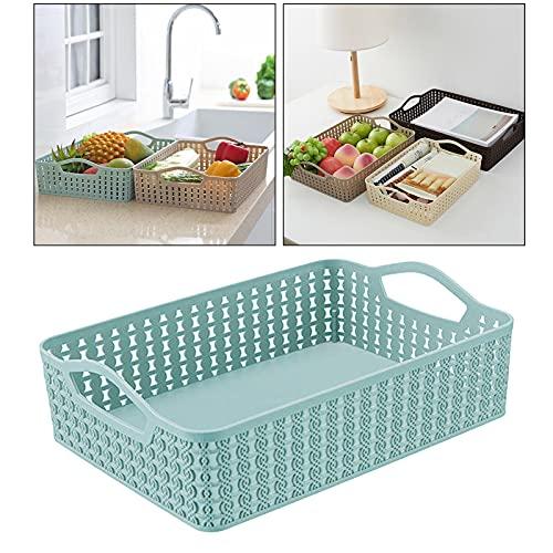 Contenedores de almacenamiento para armarios de cocina, nevera, cajón y divisor, organizador de plástico cesta de almacenamiento (azul, 1 unidad)