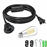 Hanging Light Cord, Light Socket with Cord 20 FT UL Listed Extension Light Cord with On/Off Switch and AC Plug Lamp Socket for E26 DIY Pendant Light (Black,USA)
