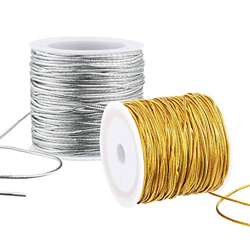 2 Rolls Metallic Elastic Cords Stretch Cord Ribbon Metallic Tinsel Cord Rope for Craft Making Gift Wrapping, 1 mm 55 Yards (Gold and Silver)
