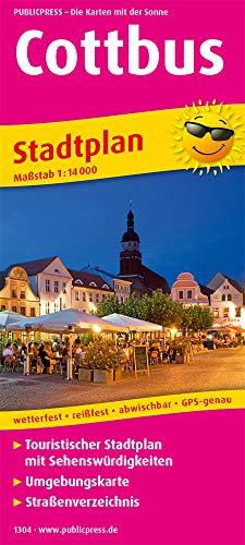 Cottbus: Touristischer Stadtplan mit Sehenswürdigkeiten und Straßenverzeichnis. 1 : 14 000 (Stadtplan: SP)