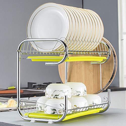 2-stufiges Geschirrregal 2-stufiges rostfreies Chromständer für Geschirrtrockner Geschirrspüler Küchenlagerorganisator