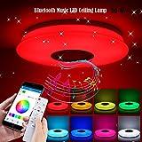 ALLOMN LED Deckenleuchte, Smart Bluetooth Musik Deckenleuchte Dimmbar RGBW Farbwechsel Licht mit Bluetooth Lautsprecher APP Fernbedienung, Helligkeit Einstellbar, Timing Speicher Funktion (36W 1 Stck)