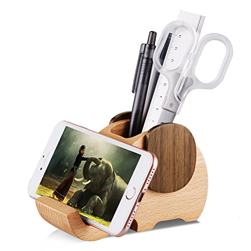 AhfuLife Wooden Elephant Cell Phone Holder/Stand with Pen&Pencil Holder/Pot, Desk Decoration Multi-Functional Supplies Stationery Organizer, Birthday Graduation Gift (Elephant Pen Pot)