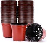 C-manual 50 macetas redondas de plástico de 20,32 cm para plantas de semillero de flores, suministros de guardería, macetas, macetas, macetas, recipientes de flores