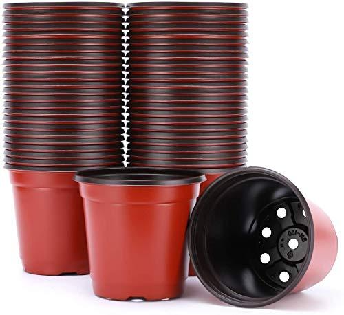 C-manual 50 macetas redondas de plástico de 20,32 cm para plantas de semillero de flores,...
