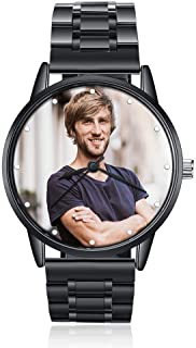 ساعتهای عکس شخصی برای آقایان بند بند چرمی مچ دست سفارشی هر نامی ساعت مچی برای دوست پسر زوج