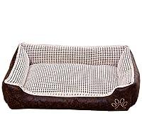 ペット ベッド 猫 小型犬 あったか 角型 ベッド クッション ソファ 洗える 暖かい ふわふわ もこもこ 防寒 秋 冬 安眠 犬猫用 寝台 ぐっすり眠る 休憩所 寒さ対策 ベージュ 滑り止め 猫用品 90*70*25cm ペット用品 中型犬 犬用