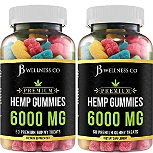 [2-PACK] Hemp Gummies Premium – 6000 MG – Relief for Stress, Inflammation, Sleep, Anxiety, and Depression – Vitamins & Omega 3,6,9 – Made in The USA [2-PACK]