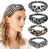 Shinowa Diademas para Mujer, [4 Piezas] Bandas Elástica para el Pelo con Diseño de Patrón de Leopardo, Diadema de Turbante Decorativa para Mujeres y Chicas, Leopardo Imprimido