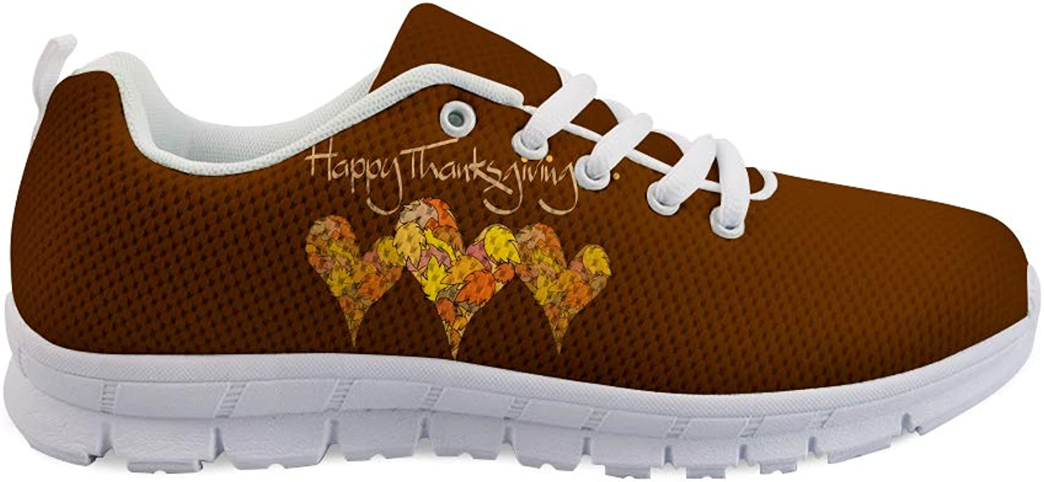 Owaheson Lace-up Sneaker Training shoes Mens Womens Thanksgiving Happy Leaf Hearts