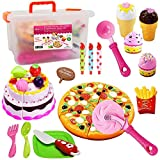 FUNERICA Pretend Cutting Play Food Kids Toy Set with Cutting Pizza, Ice Cream, Fries, Dessert,...