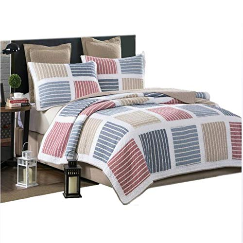 Patchwork hecho a mano Colcha Acolchada Tamaño reina Cubierta de la cama 3 piezas Conjuntos de cubrecamas Reversible Mantas de cama (230 * 250 cm) Con 2 fundas de almohada