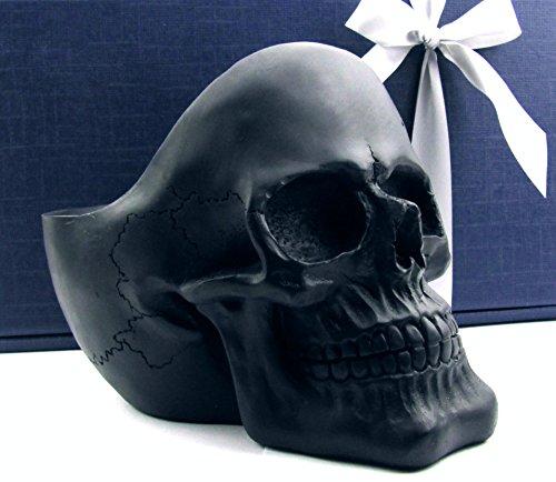 Deko-Totenkopf Toten-Schädel, Skull, originelle Universal-Schale im Geschenk-Set, Geschenkidee zu Weihnachten Geburtstag für Frauen, Männer, Gothic, Partydeko, Ablage-Snack-Pflanzschale (schwarz matt)