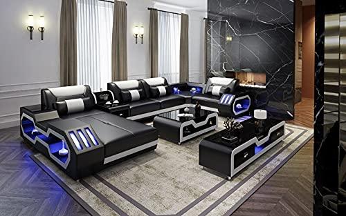 Living Room Furniture 5 Seats U Shaped Corner Sectional Leather Sofa +Coffee Table+Tv Stand with Led Lighting Sofa Set Black