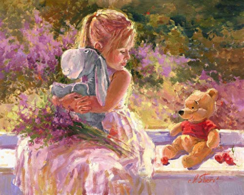 YUNLINZI Paint By Numbers Kits For Adult Children Seniors Junior Beginner Acrylics Diy Oil Painting Kits Hand Painted Gift Home Decoration -Garden Girl Bear And Donkey 40X50 Cm