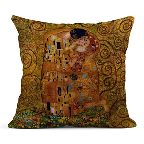 Kinhevao Cuscino di tiro Bacio Viola Klimt Ispirato Astratto Batik Pittura Motivi di Gustav Brown Cuscino Moderno in Lino Cuscino Decorativo per la casa