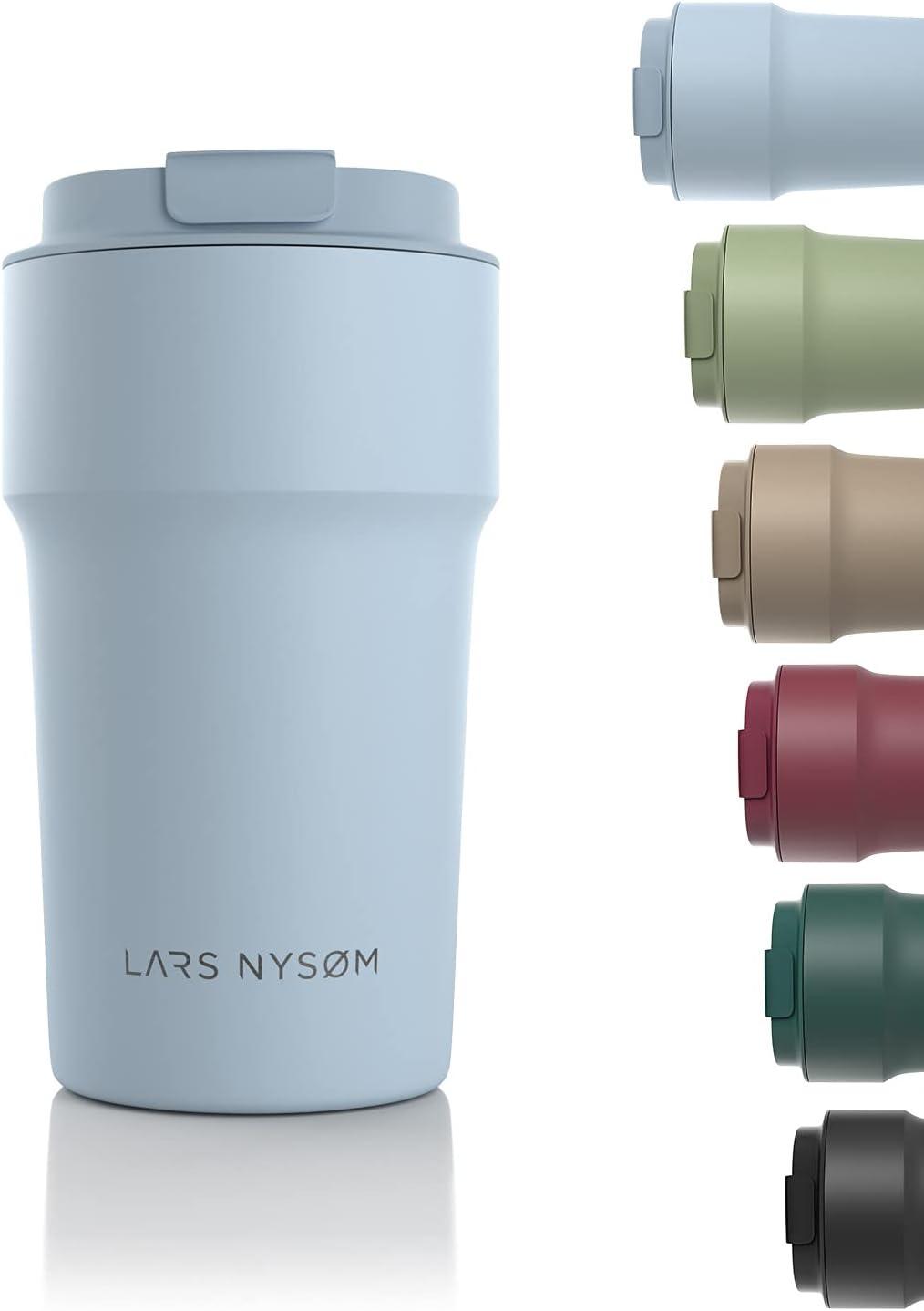 LARS NYSØM Taza térmica café para llevar 500ml   Termo Café para llevar sin BPA de 0,5 litros con aislante   Travel mug de acero inoxidable a prueba de fugas para el café y el té
