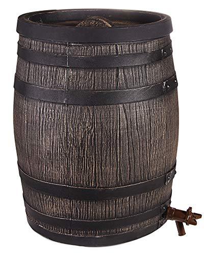 Ondis24 Eichenfass, Fassungsvolumen 50 Liter, Fass in Holzoptik, Regentonne, lebensmittelecht, Wein Schnaps und mehr