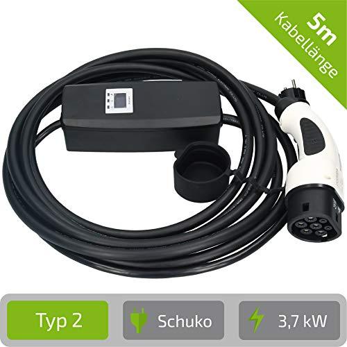 E-Autos.de Mobile laadstation voor elektrische auto's & plug-in hybride I laden aan huishoudelijke contactdoos I type 2 (Mennekes) I 5 m kabellengte I 8, 10, 16 ampère instelbaar I 1 fasig I max. 3,7 kW.