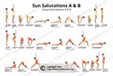 Yoga Poster - Sun Salutations A & B - Yoga Posture Poster- Best Work Out Essentials| Motivational Decor| Yoga Chart| Beginner Plan| Basics Yoga Stuff