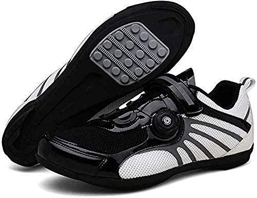 KUXUAN Zapatillas de Ciclismo,Calzado Profesional Ligero para Bicicleta de Carretera con Rayas Reflectantes,Bicicleta de Montaña Antideslizante Transpirable para Adultos,C-46EU