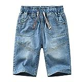 YoungSoul Pantalones Cortos para niño - Vaqueros Cortos de Mezclilla con Cintura elástica - Bermudas de Jeans Verano Azul 128/7-8 años