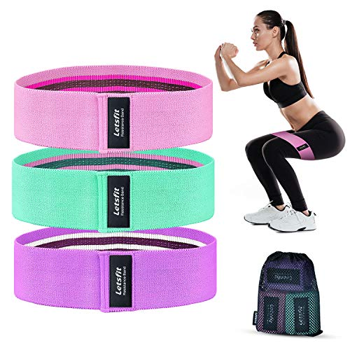Letsfit Resistance Bands for Legs and Butts, Exercise Booty Bands for Home Fitness, Pilates, Yoga, Stretching and More, Wide Anti Slip Hip Bands