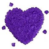 Rayong Pétalos de Rosa 1000 Piezas de Pétalos de Rosa Artificiales, Petalos de Rosa, Decoración Romantica para Bodas, Fiestas, día de San Valentín y Ambiente Romántico - púrpura