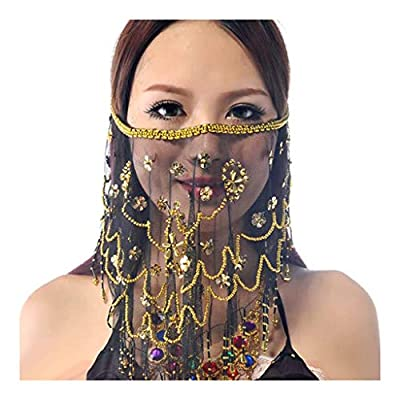 Wuchieal Women's Belly Dance Tribal Face Veil With Halloween Costume Accessory