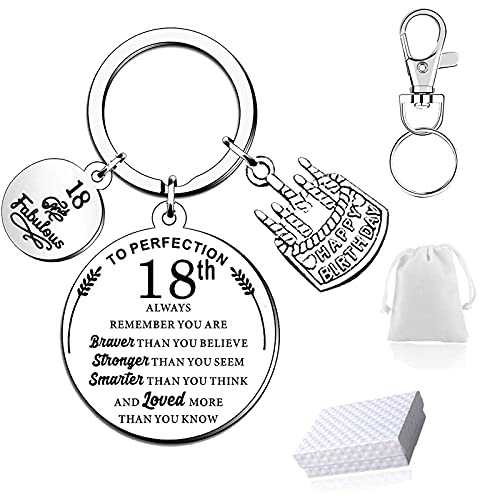 Inspirational Keyring Keychain for 18th Birthday Gifts with Gift Box Velvet...