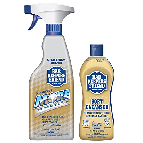 Bar Keepers Friend Soft Cleanser Premixed Formula | 13 oz. container + 25.4 oz. spray bottle| (2-Pack)