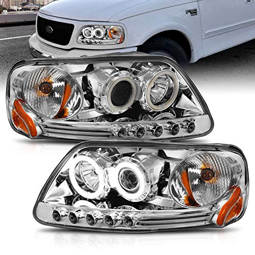 AmeriLite for 1997-2003 Ford F150 F-Series Expedition Chrome Projector Replacement Headlights Assembly Xreme LED Halos Included Bulbs - Passenger and Driver Side