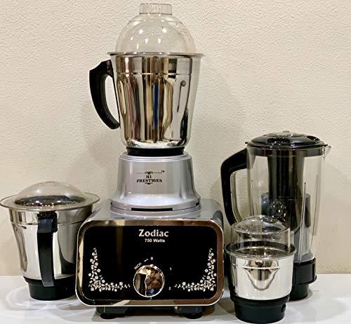 HI PRESTIGES Zodiac Mixer Grinder, 750W, 4 Jars (Black Silver)