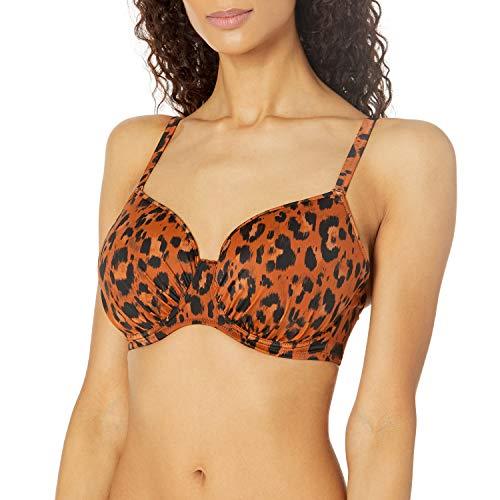 Freya Womens Roar Instinct Underwire Idol Moulded Bikini Top, 28H, Leopard