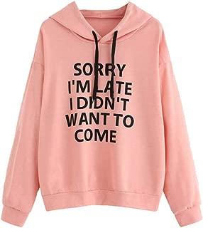 Womens Letter Print Drawstring Sweatshirt,O-Neck Hoodie Jumper Long Sleeve Pullover Tops,So Nice
