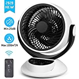 Cooling Fan, Quiet Desk Fans with Powerful Airflow, 25dB, 1800m³/h Air Circulator Fan with Remote Control, 3 Speeds, 7H Timer,Automatically Oscillating Whole Room Fan for Bedroom Office Living Room