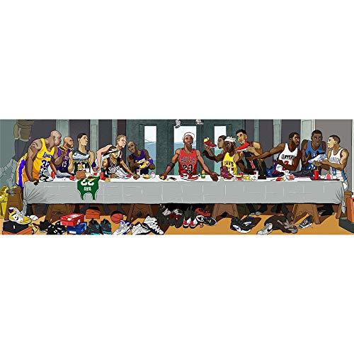 FILWS Basketballstar Das Letzte Abendmahl Poster Kobe Bryant Michael Jordan NBA Sterne Öl Auf Leinwand Wandbild Bild Für Wohnzimmer Kunst Leinwand Dekorationen Rahmenlos