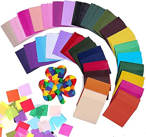 Firstop 3000pcs 2inch Tissue Paper Squares, 30 Assorted Colors Rainbow Tissue Mosaic Squares for Arts Craft DIY Scrapbooking Scrunch Art Classroom Activities