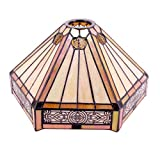 Tiffany Lamp Shade Replacement Only W10L12H6 Inch Yellow Stained Glass Mission Hexagon Lampshade 1-5/8-Inch Fitter Opening for Floor Arch Lamp Torchiere Ceiling Fixture Pendant Light S011 WERFACTORY