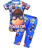 Boys Girls Short Sleeve Shirt Fashion Ro-blox Game Role Print Clothing Set 2 pcs Tops and Pants Rob-lox Novelty Tee-Shirt Cool Tee Outfits Active Suit 4-5T Blue