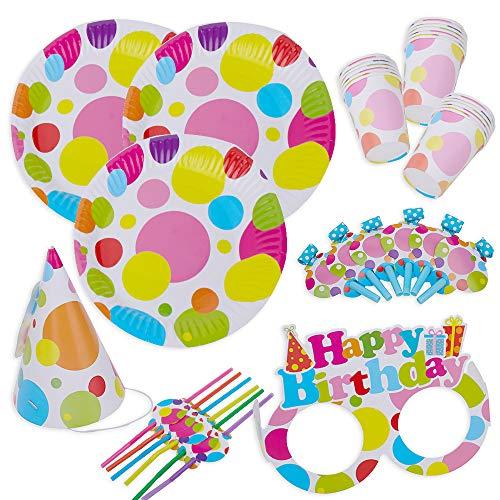 kingmate Party Set bunt Muster - Party Set für Geburtstag Kindergeburtstag Mottoparty, Tischdeko Partygeschirr Set für 6 Personen.