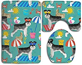 Bestauseller Schnauzer Summer Sandcastles Bath Mat Set,3 Piece Bathroom Mats Set Non-Slip Bathroom Rugs/Contour Mat/Toilet Cover