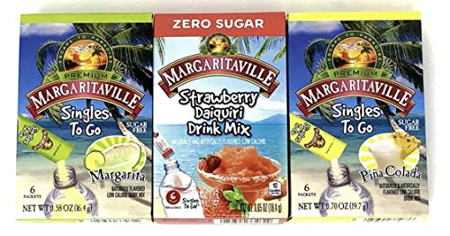 Margaritaville Drink Mix Singles To Go Variety Pack of 3 Flavors (1 of each flavor, Total of 3)