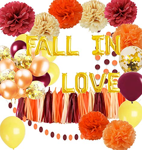 Fall Bridal Shower Decorations Wine Burgundy Champagne Orange/Fall in Love Balloons Wedding Decorations Burgundy Orange Yellow Balloons Maroon Burgundy Wedding/Women's Fall Birthday Party Decorations