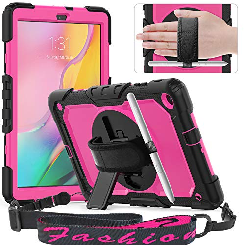 Timecity Galaxy Tab A 10.1 Case 2019,ONLY FIT (SM-T510/T515/T517), Full-Body Drop Proof Case with Rotating Hand Strap Stand Screen Protector Pencil Holder for Galaxy Tab A 10.1 - Rose+Black
