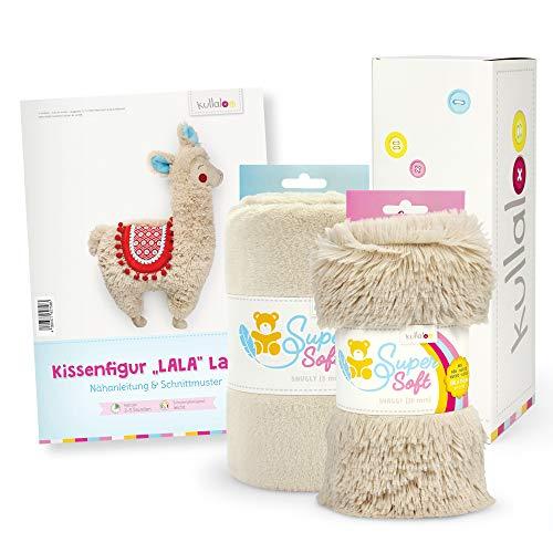 kullaloo Lama Nähset beige/Latte Schenken - Papierschnittmuster + Zwei passende Plüschstoffe in Geschenkbox