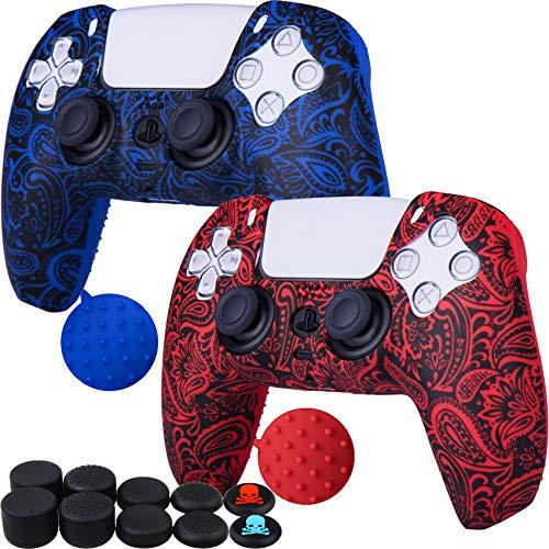 9CDeer 2 x Silicona Transferir Impresión Protector Grueso Cubrir Piel + 10 Apretones de Pulgar para Playstation 5 / PS5 / Dualsense Mando Follaje rojo & azul
