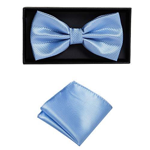 Massi Morino ® Fliege mit Einstecktuch im Set (verstellbar) inkl. Geschenkbox - vorgebundene Herren Fliegen (Hellblau)