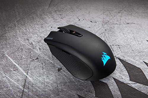 Corsair Harpoon Kabellose RGB Wiederaufladbare Optisch Gaming-Maus (mit SLIPSTREAM Technologie, 10.000DPI Optisch Sensor, RGB LED Hintergrundbeleuchtung) schwarz - 9