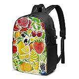 VJSDIUD Mochila USB Apple fruit pattern Backpack, Travel Laptop Backpack with USB Charging Port for Men and Women 17 In